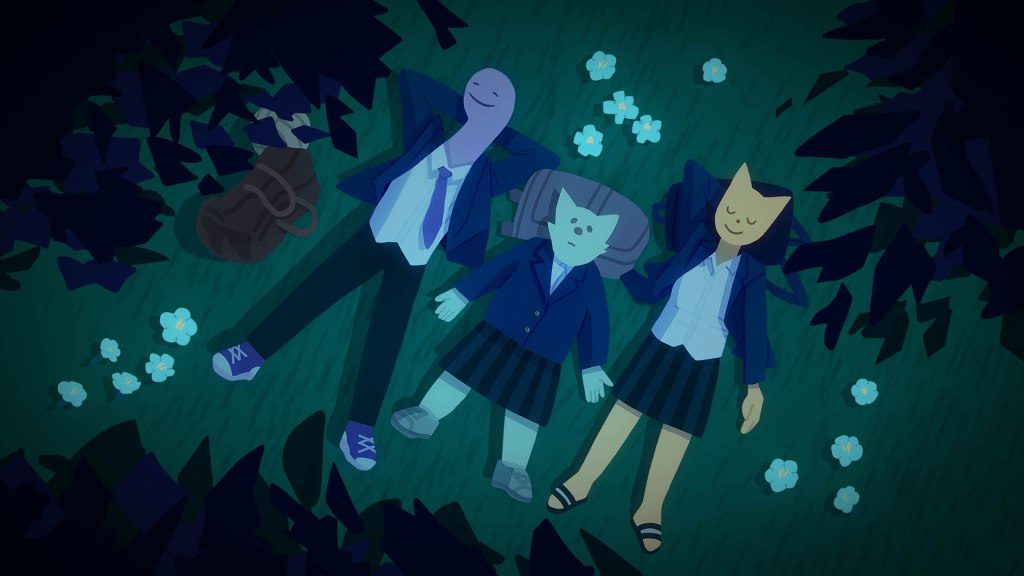 Seolgi and her friends lie in the grass, staring up at shooting stars.