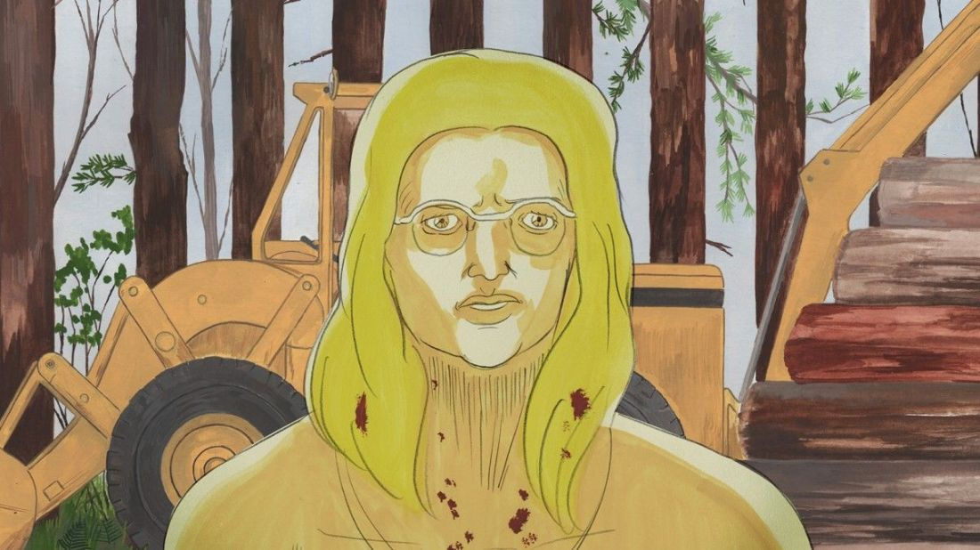 Image from the film Cryptozoo. A hand-drawn image of a blonde woman standing in front of a backhoe cutting down trees in a forest. Her neck and hair is splattered with blood.