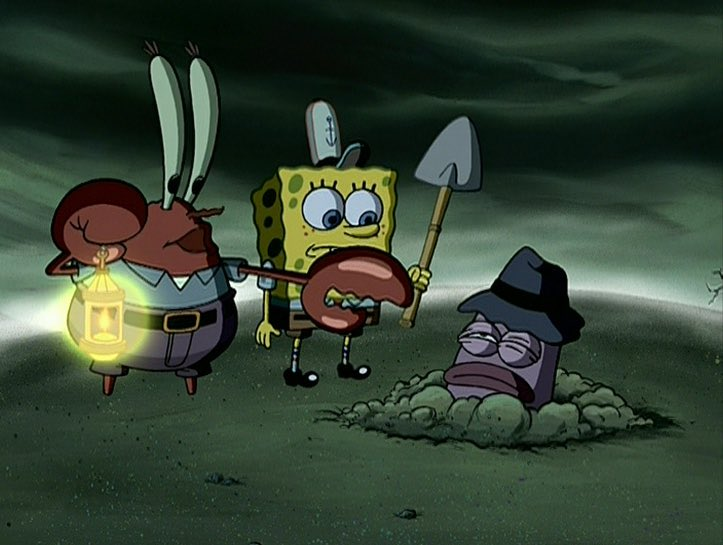 Mr. Krabs and SpongeBob bury the health inspector in a dark graveyard.