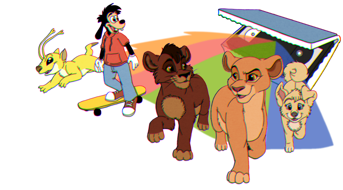 """Five characters - Sparky from Stitch! the Movie, Max from A Goofy Movie, Kovu and Kiara from The Lion King II, and Angel from Lady and the Tramp 2 - emerge from a VHS """"clamshell"""" box. The image is digitally drawn fan art."""