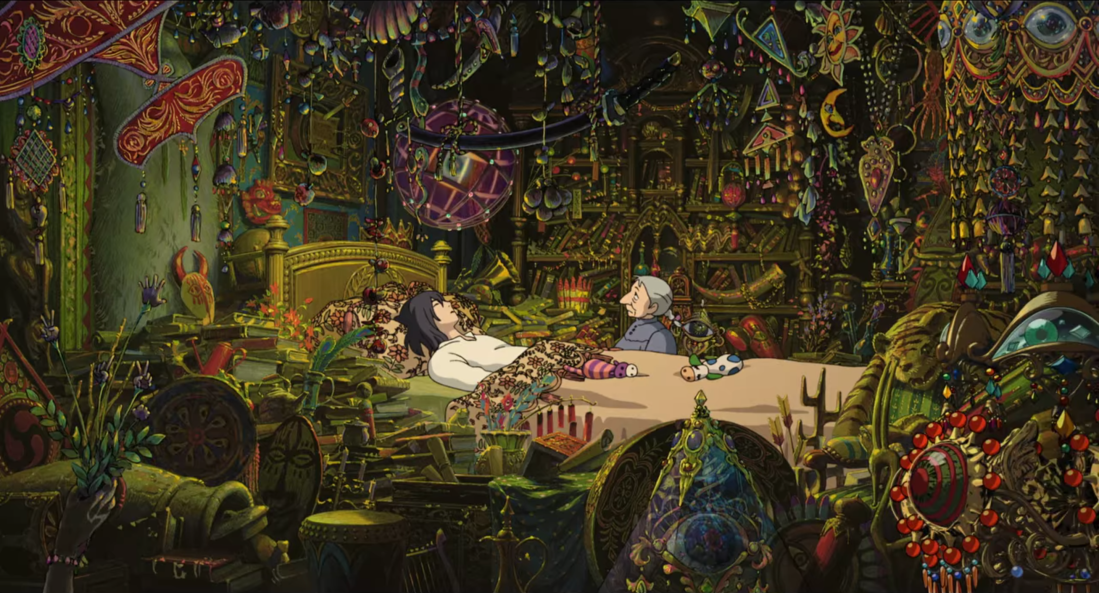 Image is from the film 'Howl's Moving Castle'. Howl lays in his bed as Sophie stands beside him in his magically adorned room.