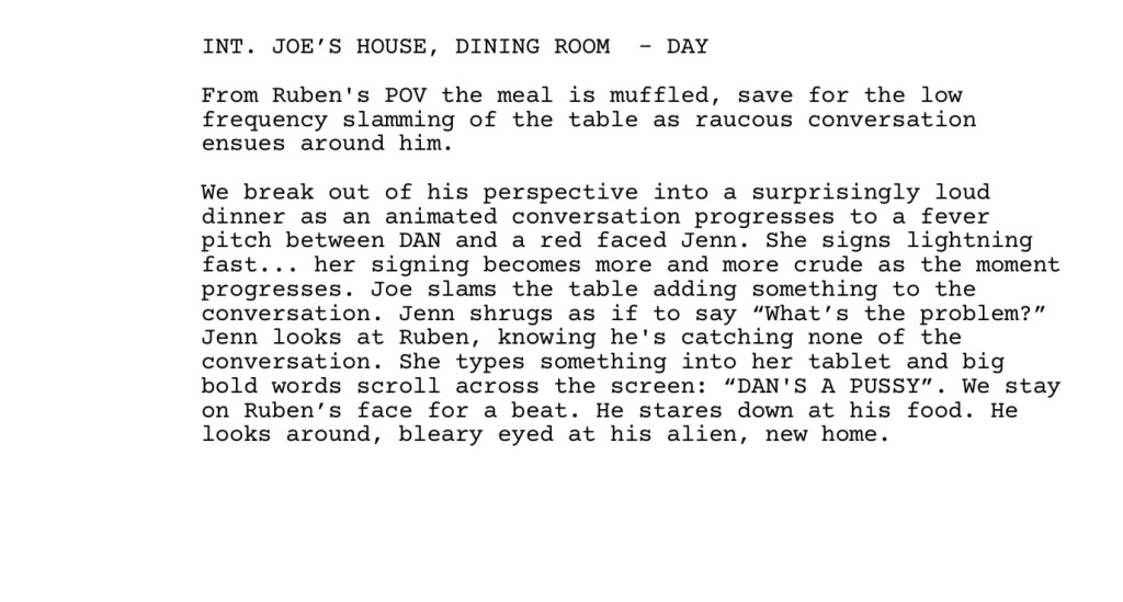 "Excerpt from the Sound of Metal screenplay:  INT. JOE'S HOUSE, DINING ROOM - DAY  From Ruben's POV the meal is muffled, save for the low frequency slamming of the table as raucous conversation ensues around him.  We break out of his perspective into a surprisingly loud dinner as an animated conversation progresses to a fever pitch between DAN and a red faced Jenn. She signs lightning fast... her signing becomes more and more crude as the moment progresses. Joe slams the table adding something to the conversation. Jenn shrugs as if to say ""What's the problem?"" Jenn looks at Ruben, knowing he's catching none of the conversation. She types something into her tablet and big bold words scroll across the screen: ""DAN'S A PUSSY"". We stay on Ruben's face for a beat. He stares down at his food. He looks around, bleary eyed at his alien, new home."