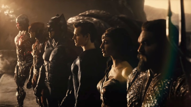 Image is from 'Zack Snyder's Justice League (2021). Cyborg, The Flash, Batman, Superman, Wonder Woman and Aquaman lineup as the Justice League facing off against an enemy threat