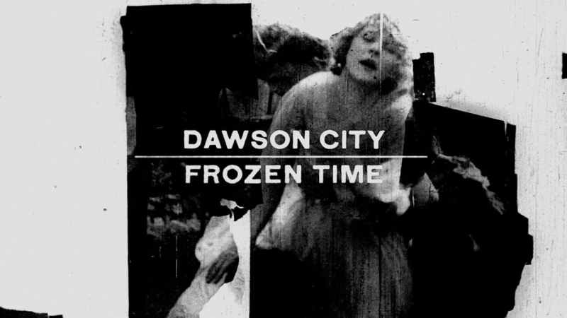 Image shows the poster for the film Dawson City Frozen Time, in which a black and white image of a woman from a silent film is shown against an icy background.