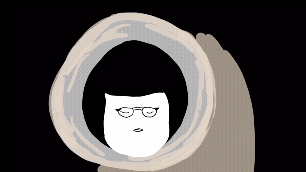 An illustration from Well Rounded, featuring a drawing of a woman with black hair and eyes closed, wearing glasses.