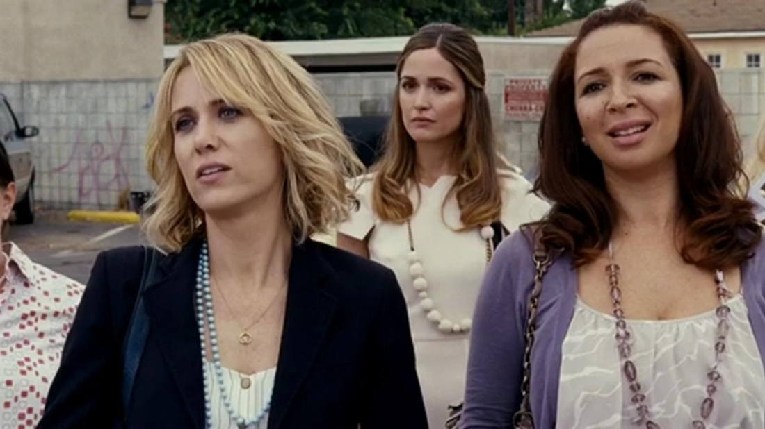 Image is from the film Bridesmaids (2011). Three woman stand together in a parking lot. One is blonde and is wearing a black blazer, one has dark hair and is wearing a purple cardigan whilst behind them a dark blonde woman wears a white dress. They all appear to be looking at something in front of them.