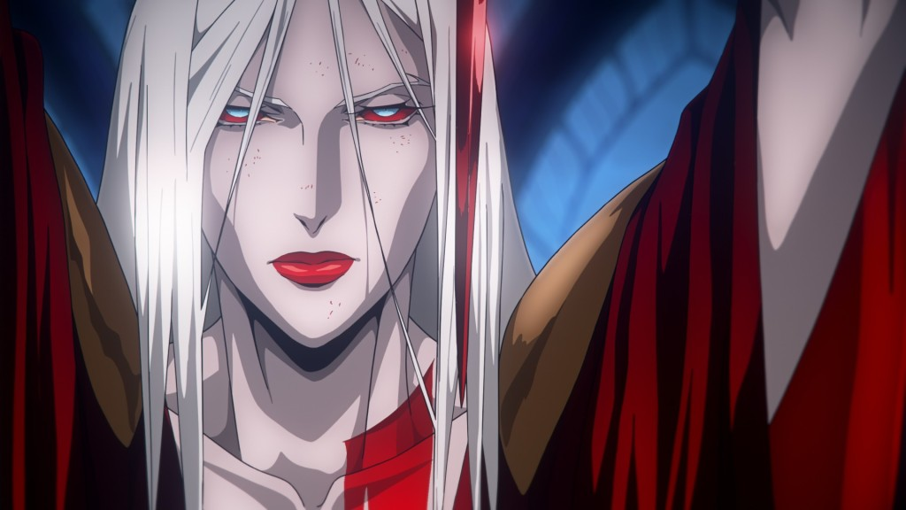 A woman with silver hair and bloodshot eyes holds up a red blade in front of her face. She is draped in a loose red dress.