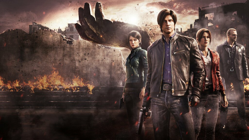 Shen May, Claire, Leon, and Jason stand in front of a crumbling wall and hand in this promotional art for the series