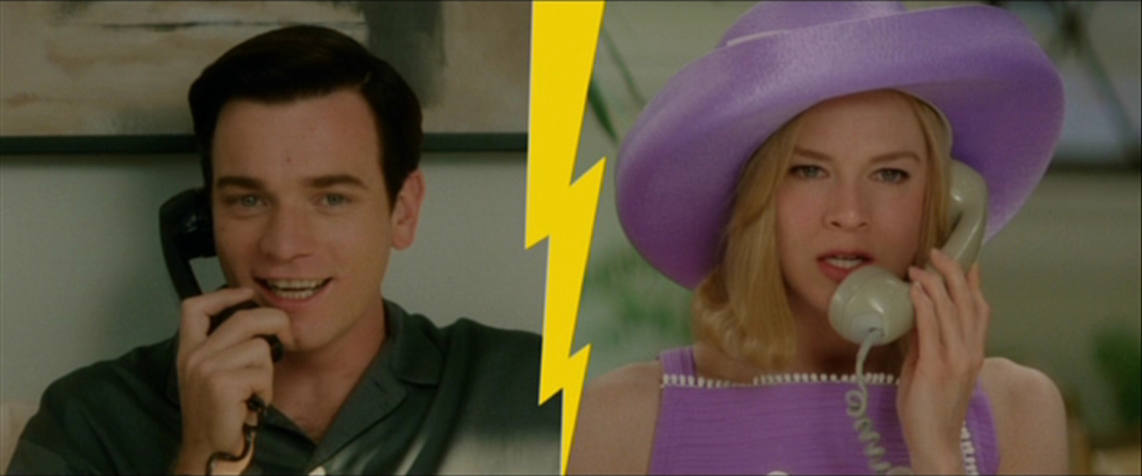 A man and a woman both shown on the phone while in split screen. The man wears a collared shirt and smiles, while the woman wears a lavender hat and top, looking less enthused. A yellow lightning both graphic separates them.