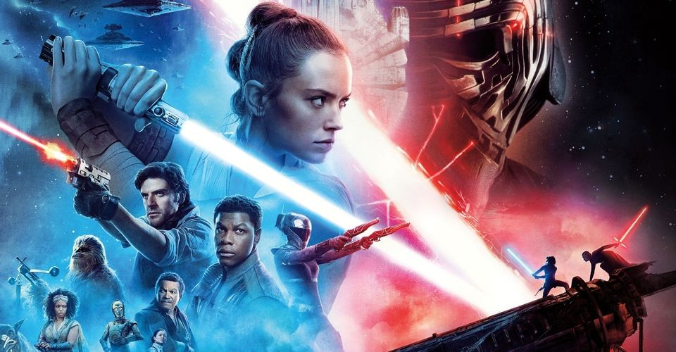 The bulk of the film's theatrical poster, with Rey poised for combat in front of a masked Kylo Rey. The bottom right of the image has them battling on a Death Star turret, and the bottom left has a selection of key supporting characters. It's coloured in red and blue, largely, showcasing the clear good versus evil battle in this sequel