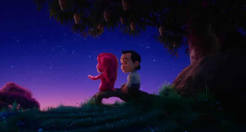 A computer-animated man with dark hair and a white shirt looks longingly at a computer-animated female figure with bright pink hair. They sit on a curved limb of a mango tree at night, and the sky glows in blue and pink.